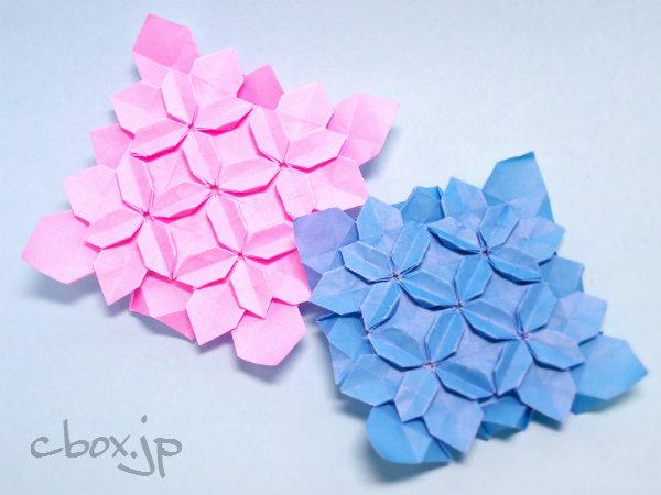 花 折り紙 紫陽花 折り紙 : シンプルタイプを縦横2列に ...