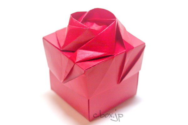 すべての折り紙 バラ作り方 折り紙 : 折り紙】バラをあしらった箱 ...