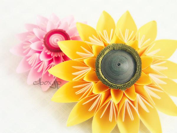 【折り紙】基本の花くす玉パーツで作るヒマワリ風の花
