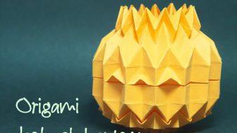長方形の紙から作る立体的なハロウィンのお化けカボチャ(ジャック・オー・ランタン)