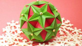 【折り紙】クリスマスカラーのくす玉