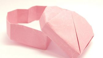 【バレンタインの折り紙】ハート型の箱