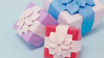 【折り紙】紫陽花とリボンをあしらった箱