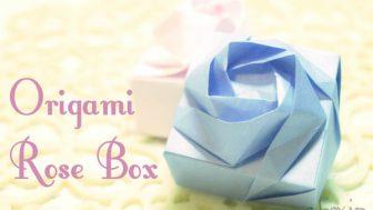 【折り紙】バラをあしらった箱(ローズボックス)
