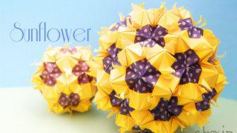 【花の折り紙】ひまわり色のくす玉